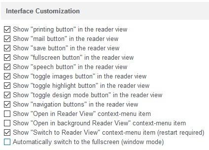 Opciones de extensión de Reader View firefox