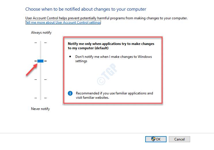 Configuración de control de cuentas de usuario Establecer la barra como predeterminada Notificarme solo cuando las aplicaciones intenten realizar cambios en mi computadora