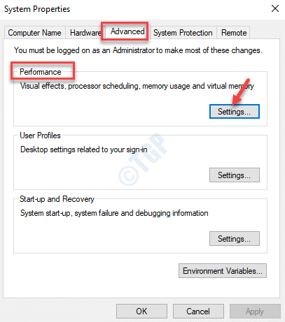Propiedades del sistema Configuración avanzada de rendimiento
