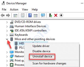 Administrador de dispositivos Ratones y otros dispositivos señaladores Expanda Haga clic con el botón derecho en el mouse Desinstale el dispositivo