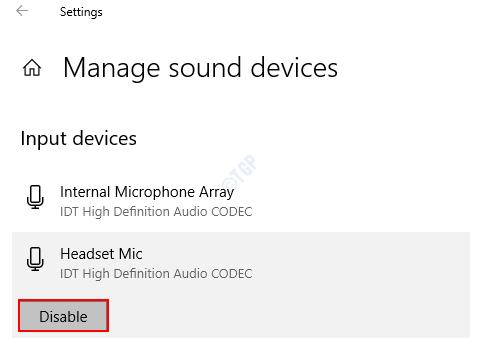 Administrar dispositivos de sonido Desactivar