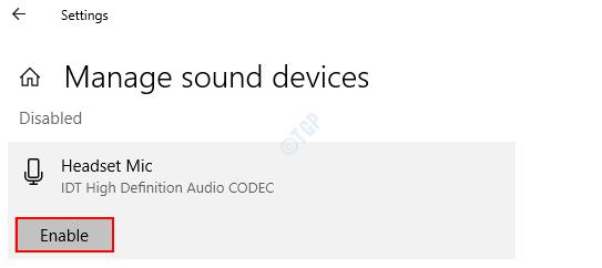 Administrar dispositivos de sonido Habilitar