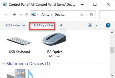 Agregar una impresora Nuevo mínimo