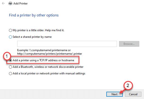 Agregar una dirección IP de impresora Mín.