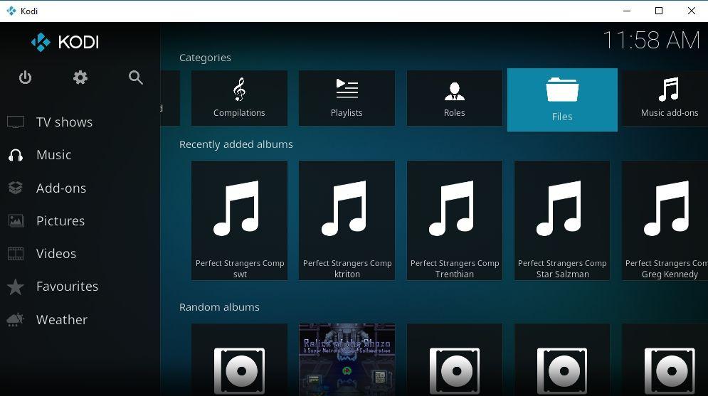 Agregar música a las categorías de la biblioteca Kodi