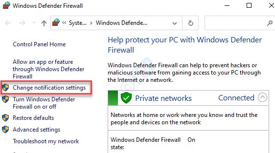 Panel de control Firewall de Windows Defender Cambiar la configuración de notificación