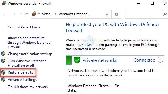 Panel de control Restaurar valores predeterminados del firewall de Windows Defender