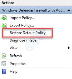 Firewall de Windows Defender con política predeterminada de restablecimiento de seguridad avanzada