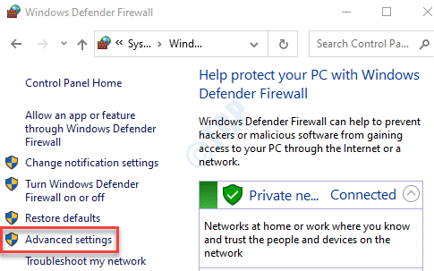 Panel de control Configuración avanzada de Firewall de Windows Defender