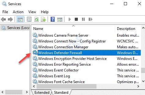 Nombre de servicios Firewall de Windows Defender