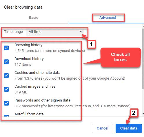 Borrar datos de navegación Rango de tiempo Todo el tiempo Marcar todas las casillas Borrar datos