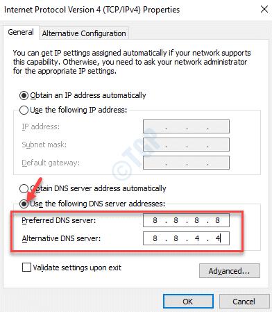 Propiedades de la versión 4 del protocolo de Internet Uso general Las siguientes direcciones de servidor Dns Marque Agregar servidores Dns