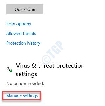 Protección contra virus y amenazas Configuración de protección contra virus y amenazas Administrar la configuración