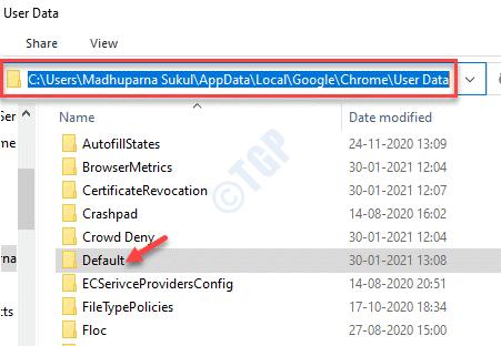 Explorador de archivos Carpeta de datos de usuario de Chrome Eliminación predeterminada