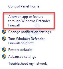 El Firewall de Windows Defender permite una aplicación o función a través del Firewall de Windows Defender