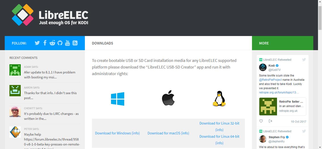 Página de descargas de LibreELEC