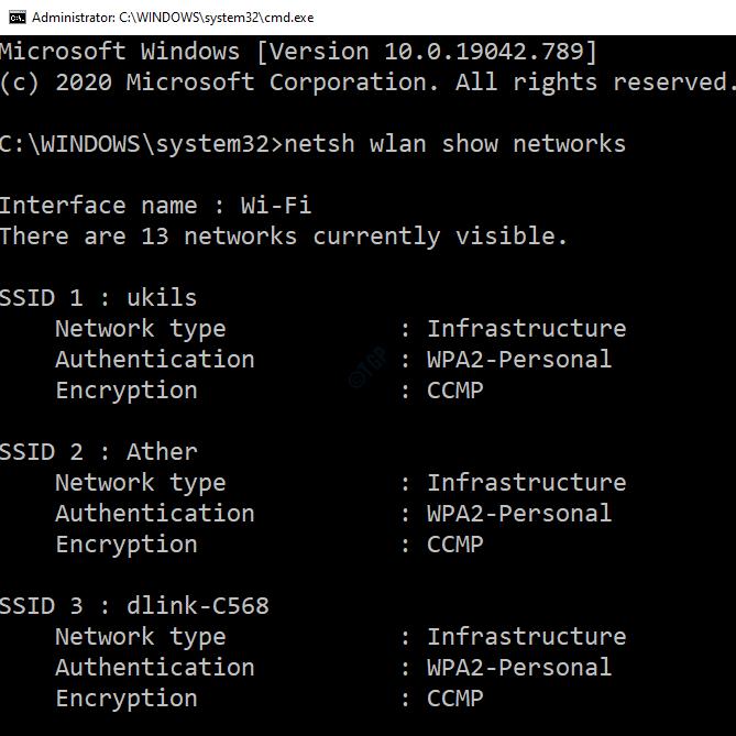 Lista Wifi en comando Propmt