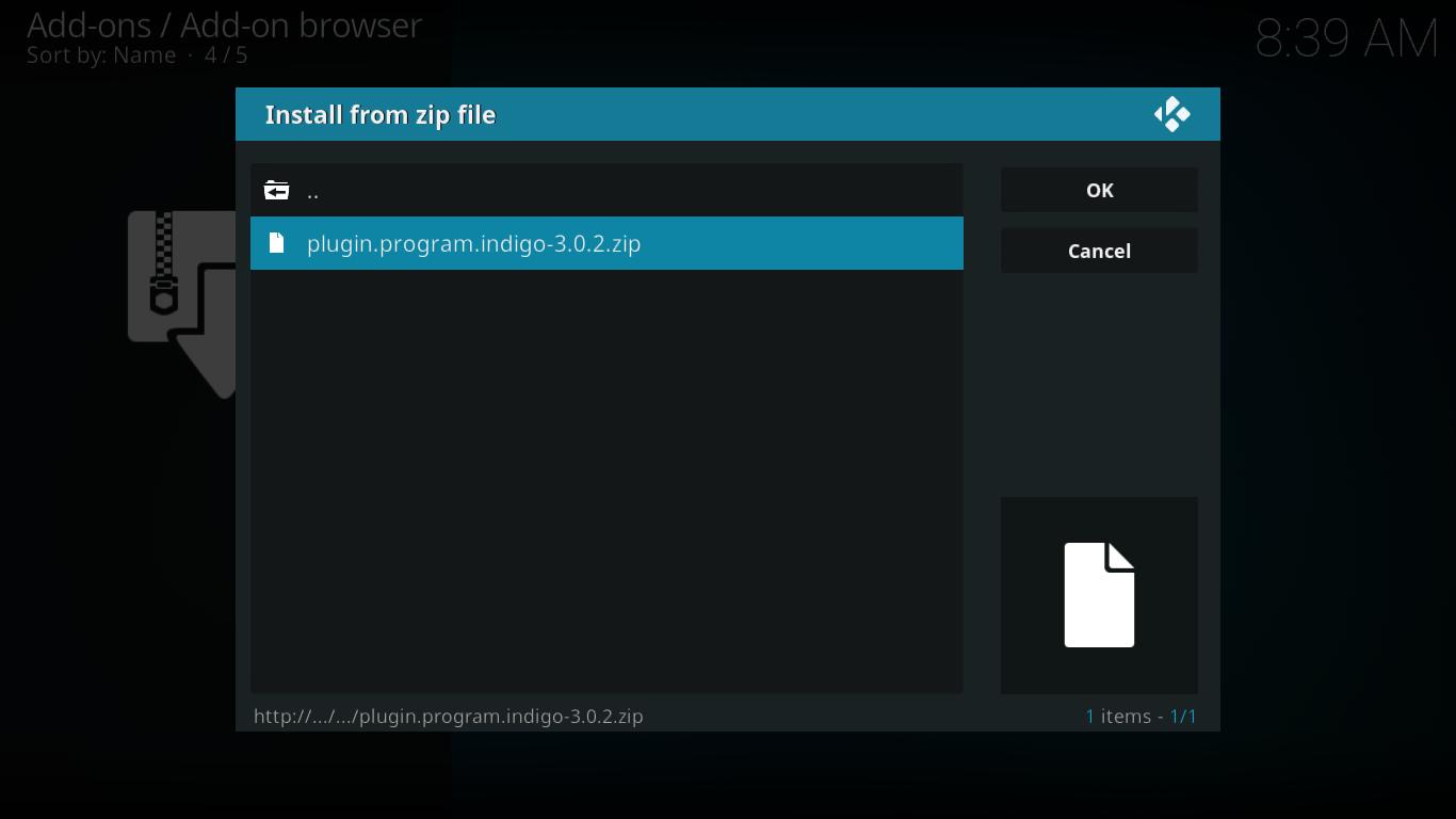 Selección de archivo zip