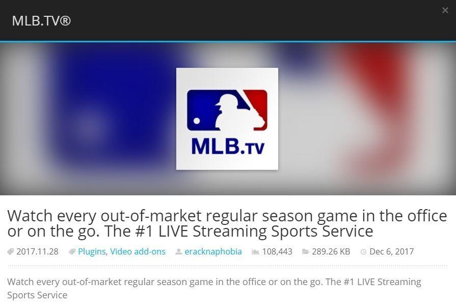 Mejor complemento deportivo de Kodi 5 -MLB sports