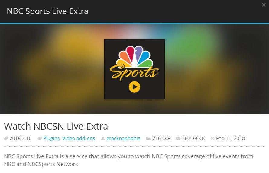 Mejor complemento de deportes de Kodi 3: NBC Sports