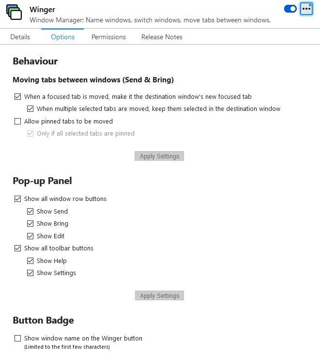 Configuración de la extensión Winger Firefox
