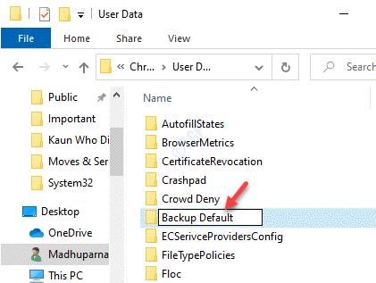 Ruta de datos de usuario de Google Chrome Carpeta predeterminada Cambiar el nombre de la copia de seguridad predeterminada