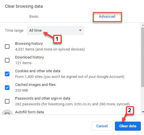 Borrar datos de navegación Rango de tiempo Todo el tiempo Cookies y otros datos del sitio Imágenes y archivos almacenados en caché Seleccione Borrar datos