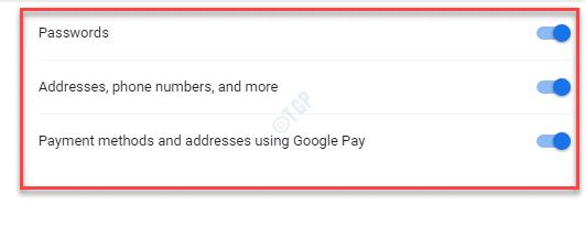 Configuración Contraseñas Direcciones, números de teléfono y más métodos de pago y direcciones con Google Pay Activar