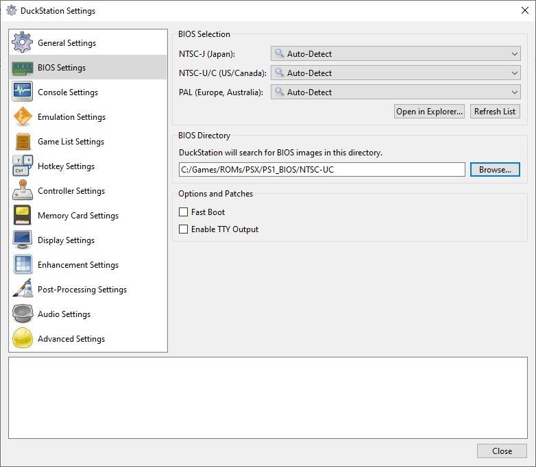 Configuración de la BIOS de Duckstation