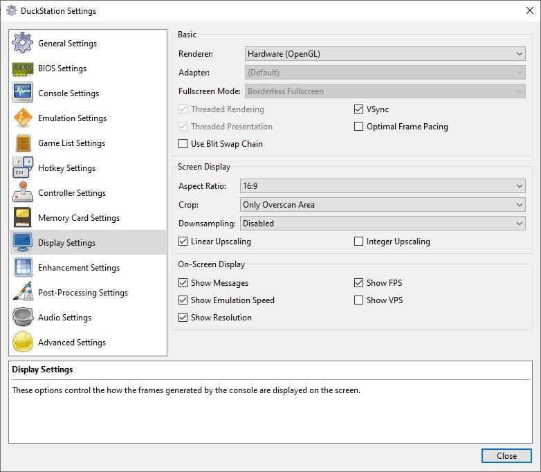 Configuración de pantalla de DuckStation