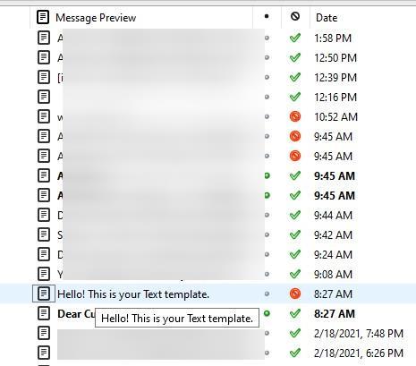 Vista de columna de vista previa de mensajes