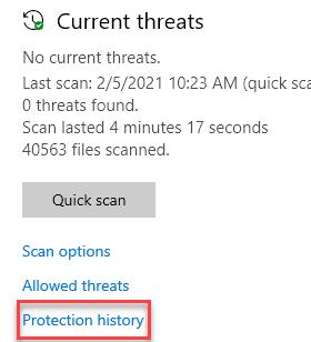 Mínimo del historial de protección