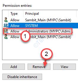 Admin Eliminar permiso mínimo