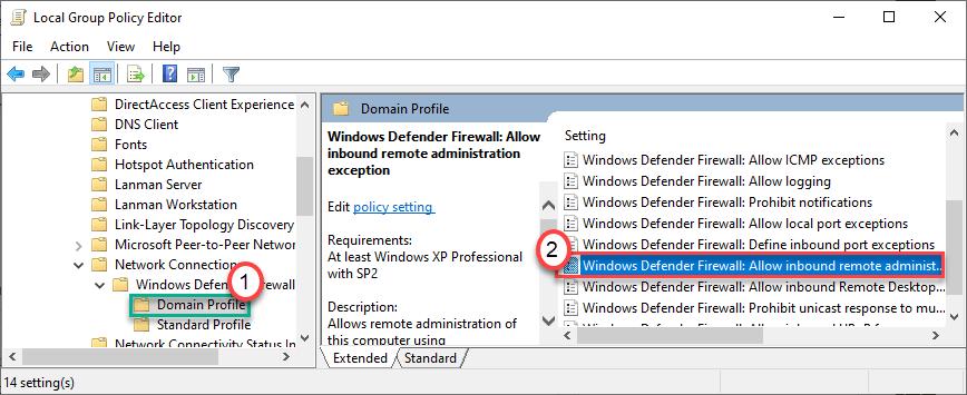 Firewall de Windows Defender permite Dc Min