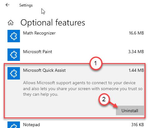 Desinstalación mínima de Microsoft Quick Assist
