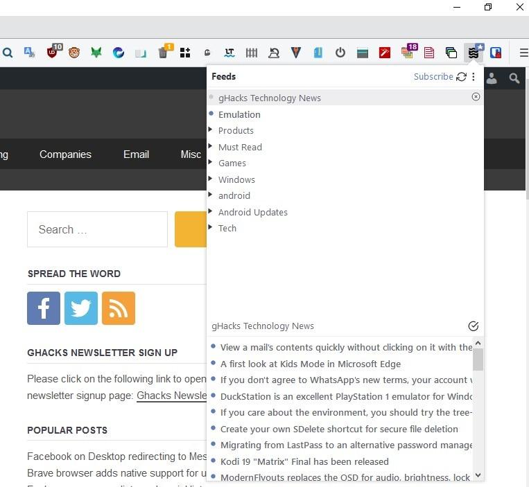 Interfaz emergente de la extensión Brook Firefox