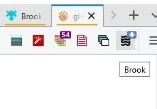 Barra de herramientas de la extensión Brook Firefox