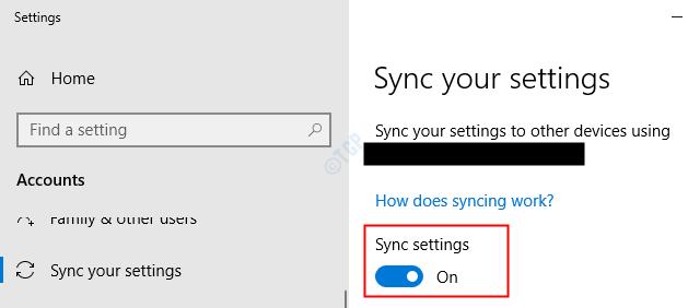 Configuración de sincronización