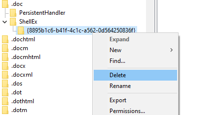 Eliminar registro de clave