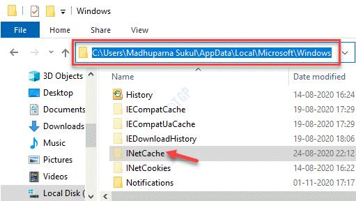 Explorador de archivos Navegar a la carpeta de Windows de la unidad C Inetcache