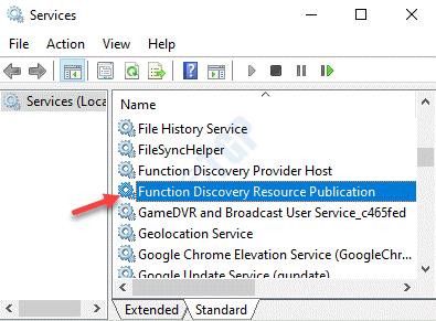 Servicios Nombres Función Descubrimiento Recurso Publicación Doble clic