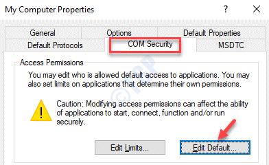 Propiedades de mi computadora Com Security Edit Default