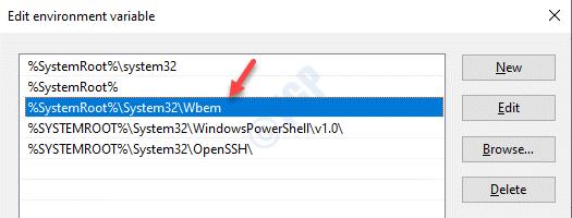 Editar variable de entorno Asegúrese de que contenga System32 Wbe Path Ok