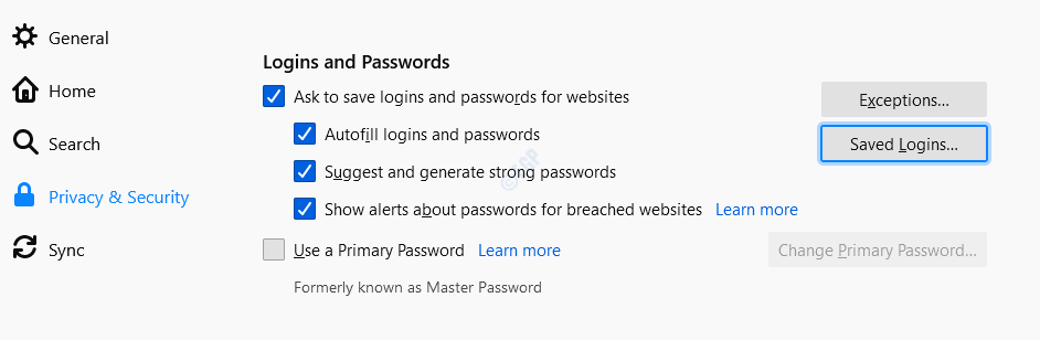 Inicios de sesión guardados de Firefox