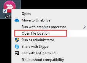 Abrir localización de archivo