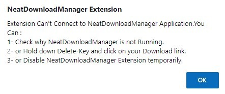 Error de extensión de Chrome NDM