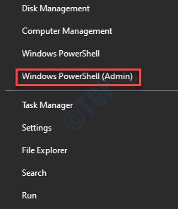 Menú Inicio Haga clic con el botón derecho en Windows Powershell (administrador)