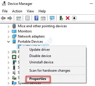 Administrador de dispositivos Problema Propiedades del clic derecho del dispositivo