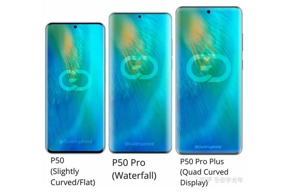 Supuesto diseño de la serie Huawei P50: la serie Huawei P50 probablemente se dará a conocer a finales de marzo