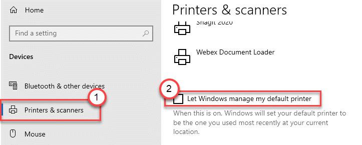 Dejar que Windows administre el mínimo de impresora predeterminado